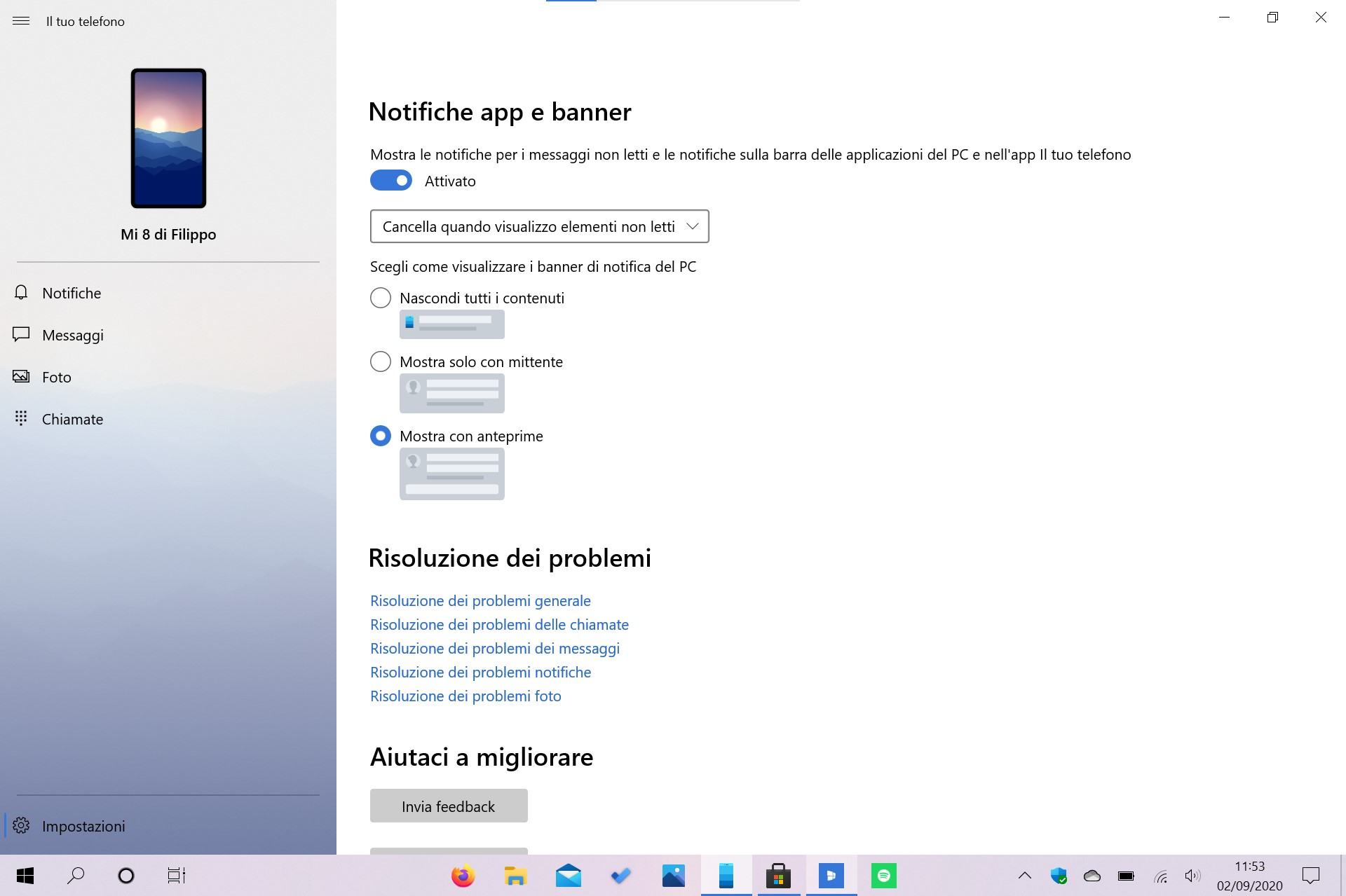 Il tuo telefono (Your Phone) per Windows 10 nuove opzioni di privacy per le notifiche