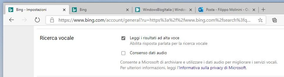 Impostazioni di ricerca vocale in Bing sul desktop