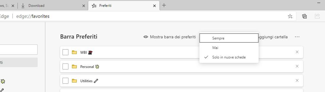 Microsoft Edge nuova opzione per la visualizzazione della barra dei preferiti nelle impostazioni di gestione dei preferiti