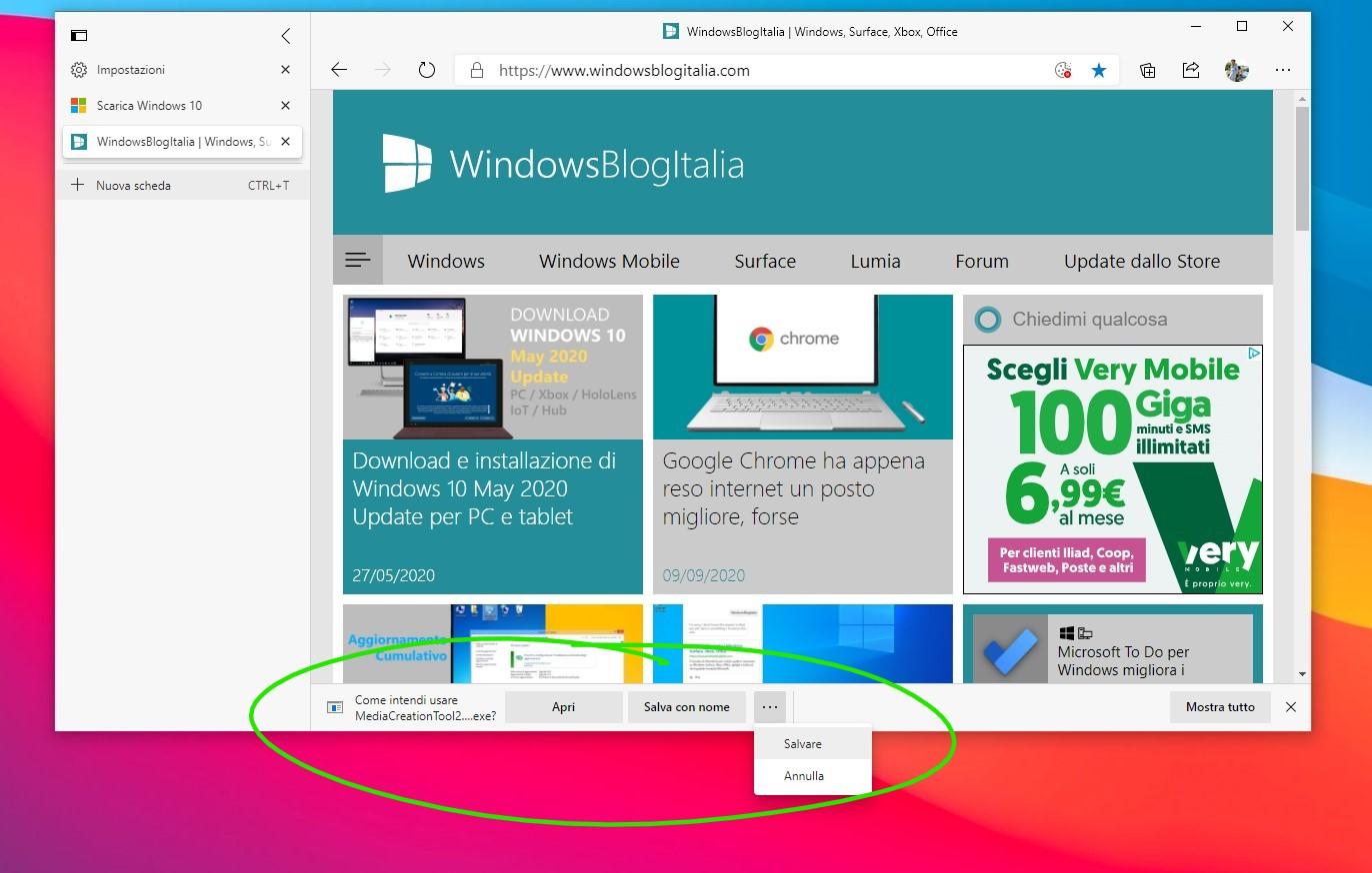 Microsoft Edge nuove opzioni per il download dei file