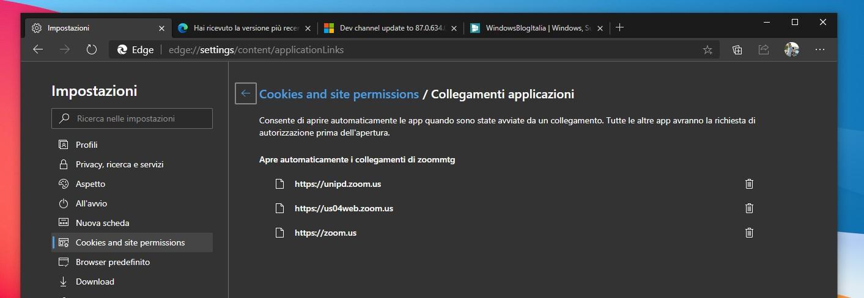 Microsoft Edge opzione collegamenti applicazioni