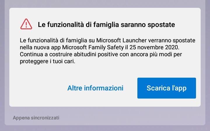 Microsoft Launcher - Avviso rimozione feature per la famiglia