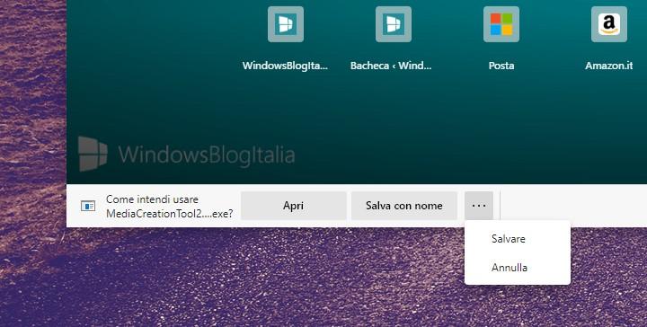 Nuovo prompt per i download in Microsoft Edge