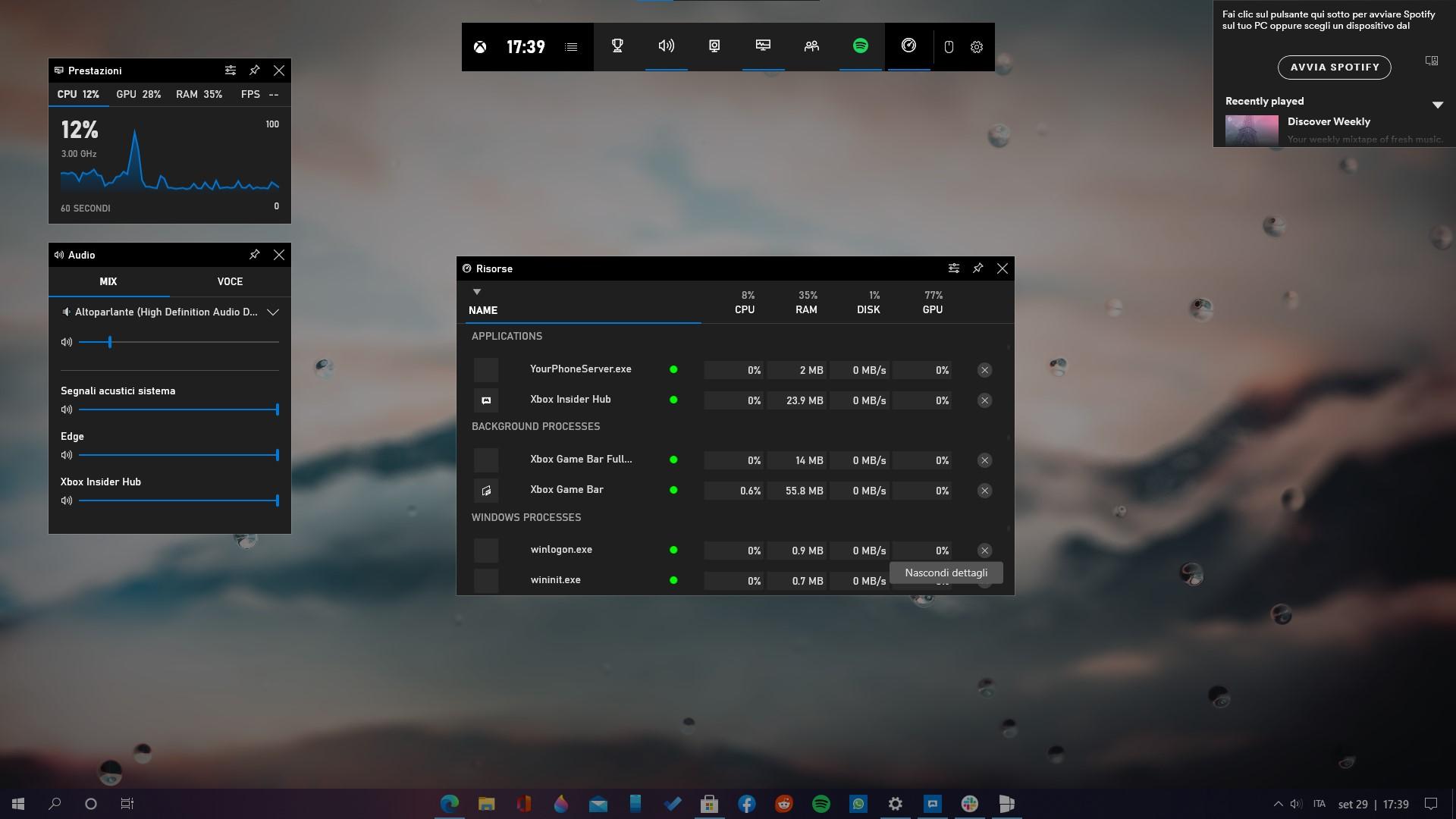 Widget Risorse dell'app Xbox Game Bar per Windows 10