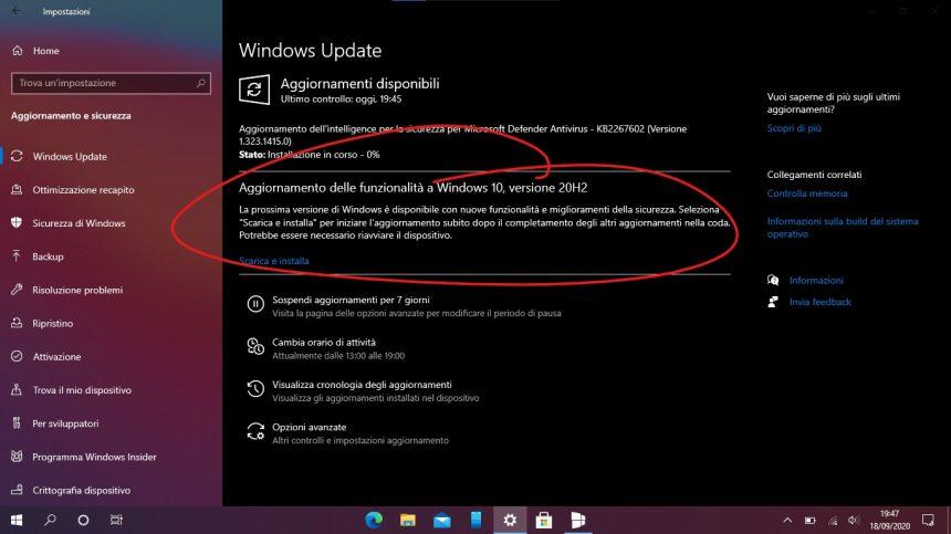 Windows Update per aggiornamento Windows 10 20H2 Release Preview