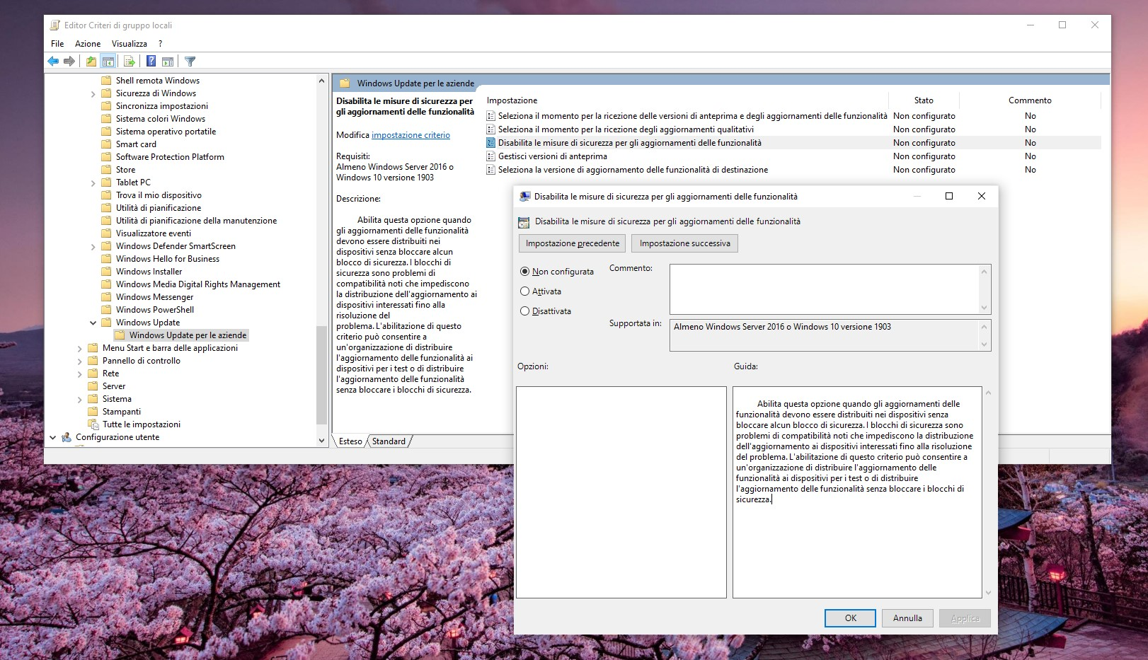 Criterio di gruppo locale di Windows 10 - Disabilitare le misure di sicurezza per gli aggiornamenti delle funzionalità