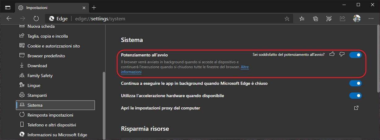 Microsoft Edge - Potenziamento all'avvio - Startup Boost