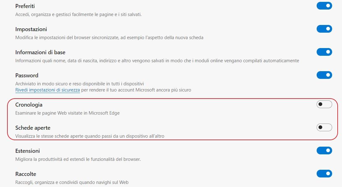 Microsoft Edge - Sincronizzazione di Cronologia e Schede aperte nelle impostazioni
