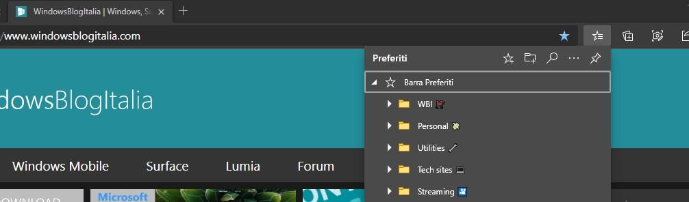 Microsoft Edge nuovo menu preferiti