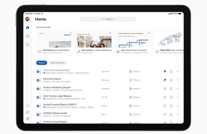 Microsoft Office su iPad - Nuova interfaccia per schermata iniziale