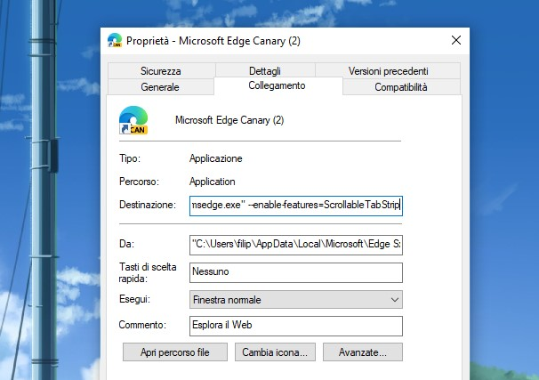 Opzioni per abilitare lo scorrimento orizzontale delle schede in Microsoft Edge Canary