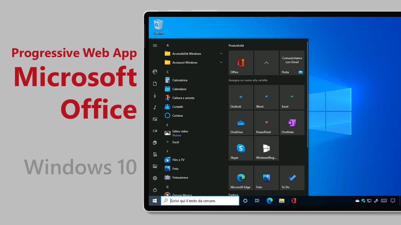 Microsoft testa l'installazione automatica delle PWA di Office su Windows 10