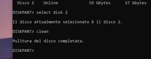 Strumento diskpart in Windows 10 - Selezione disco e pulizia delle partizioni