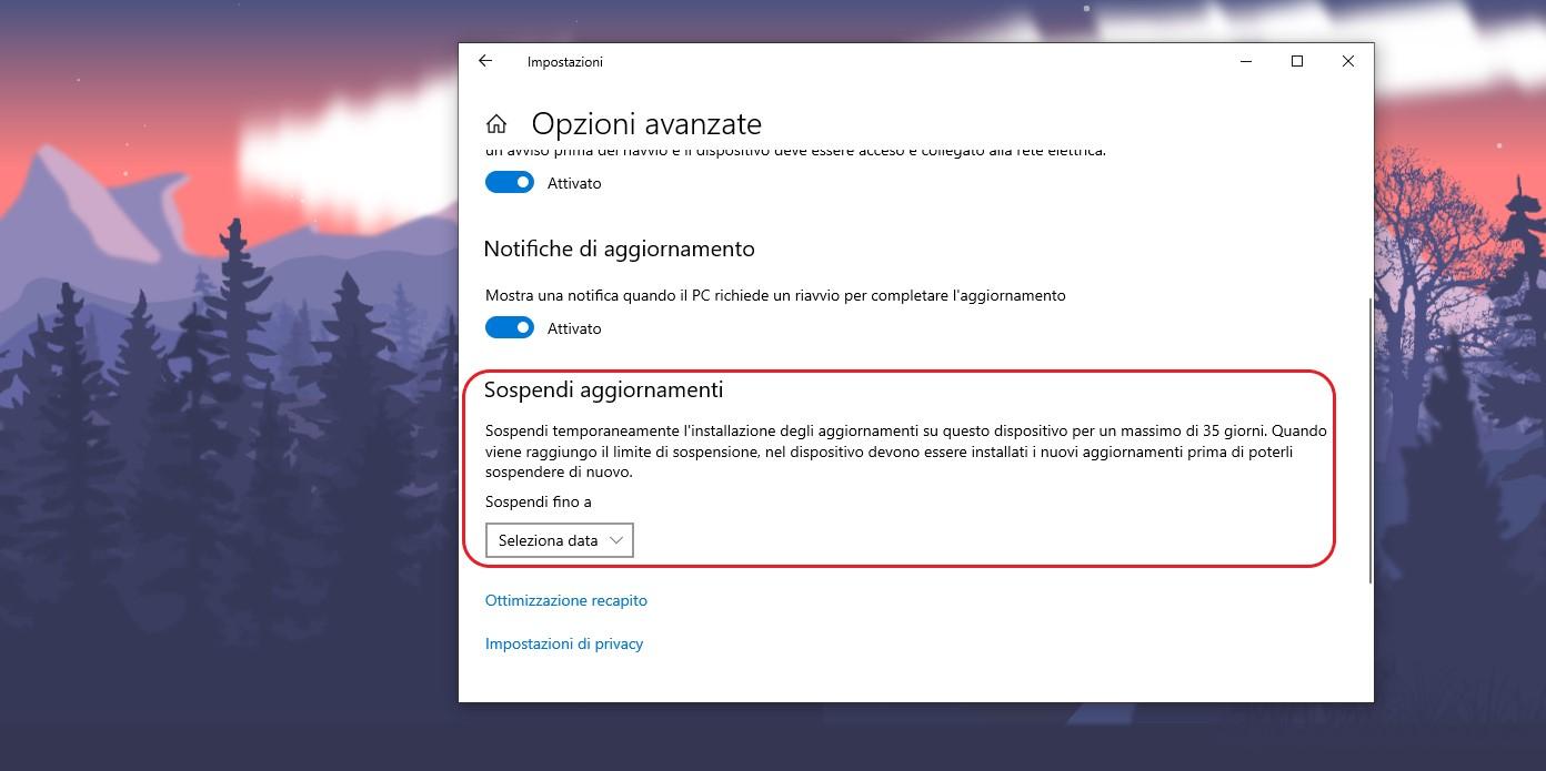 Windows 10 opzione sospendi aggiornamenti per Windows Update