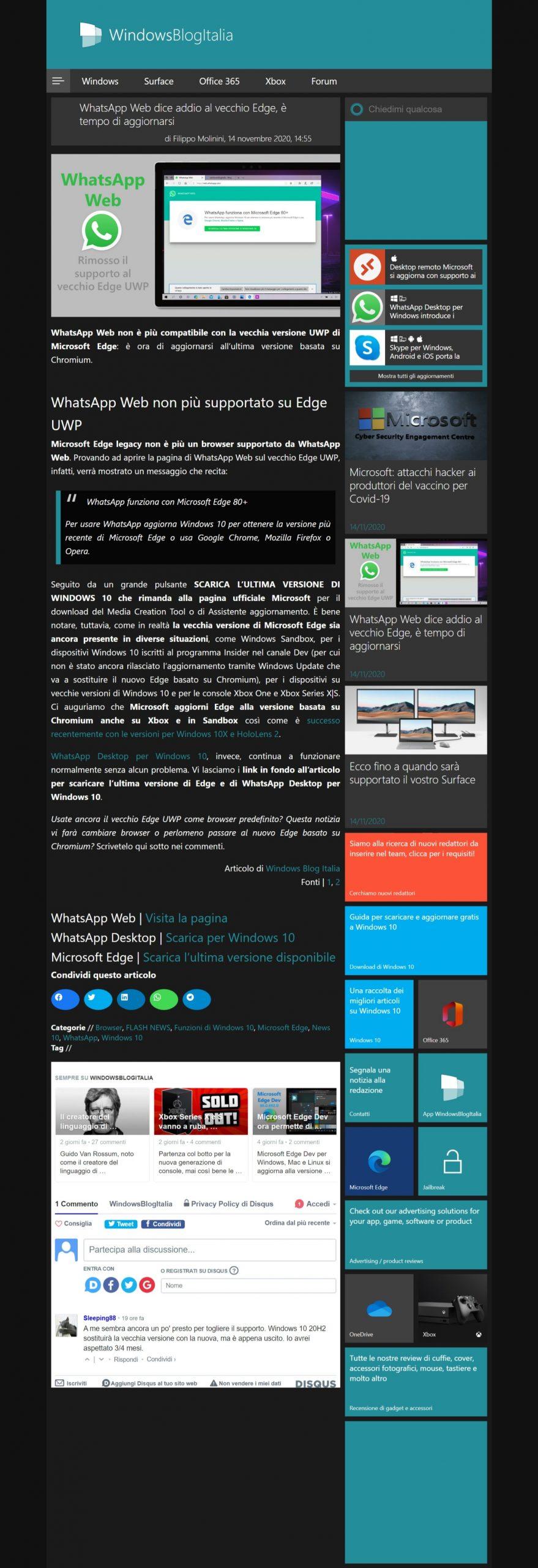 Acquisizione di schermata intera in Microsoft Edge