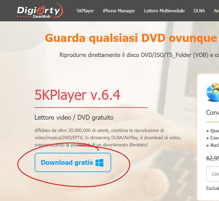 Come scaricare gratis 5KPlayer per PC per riprodurre i DVD su Windows 10