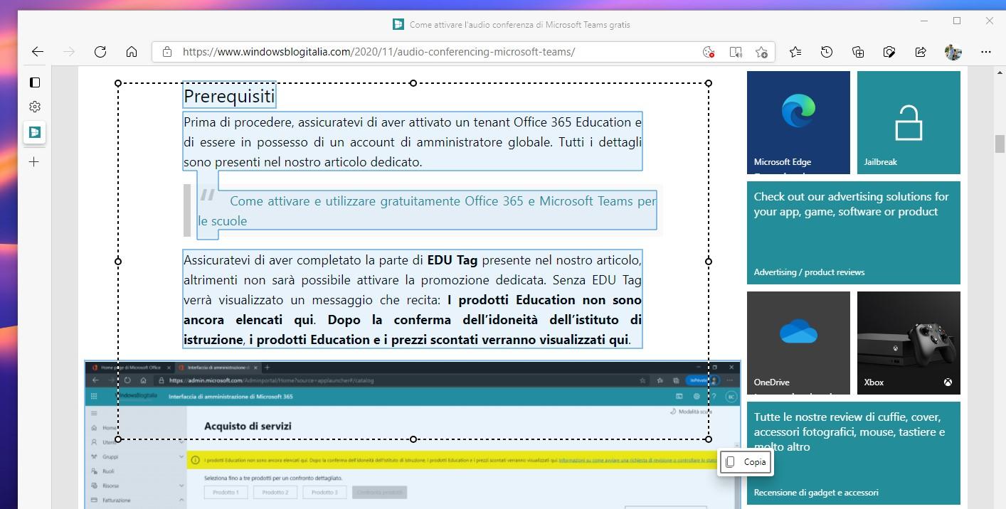Copia intelligente in Microsoft Edge