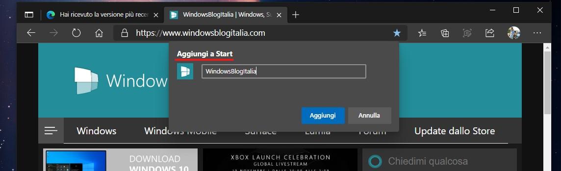 Microsoft Edge - Aggiungi sito al menu Start