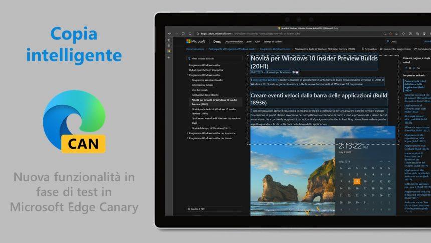 Microsoft Edge - Copia intelligente