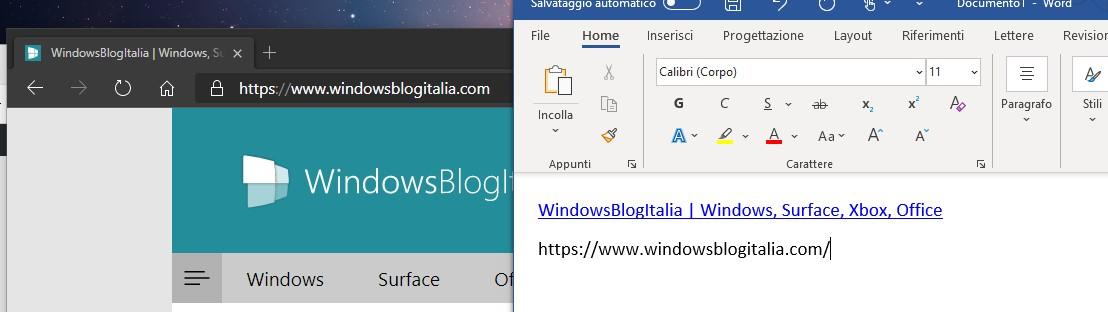 Microsoft Edge - Differenze nel copia e incolla dei link