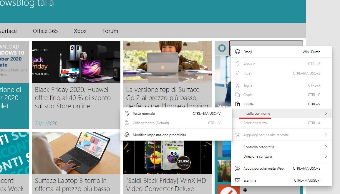 Microsoft Edge - Opzione Incolla come