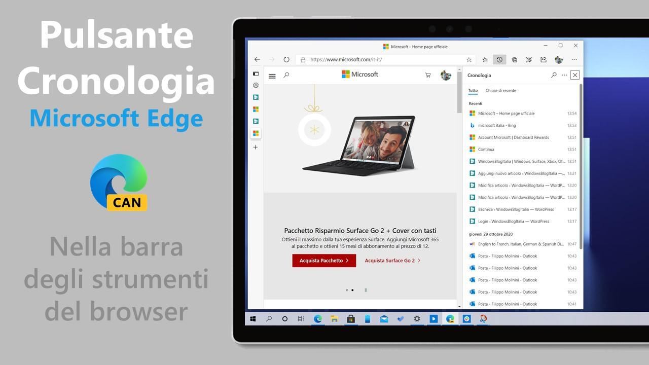 Microsoft Edge - Pulsante Mostra cronologia nella barra degli strumenti del browser