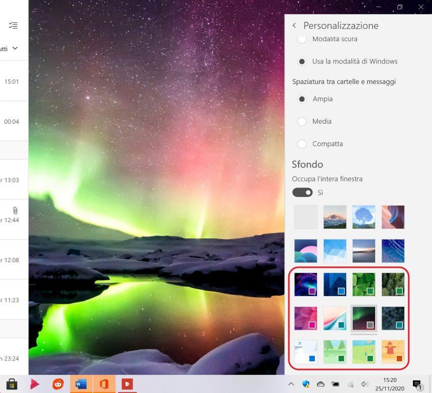Posta e Calendario per Windows 10 - Nuovi temi