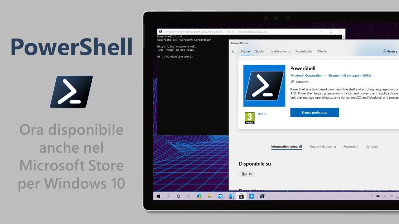 PowerShell per Windows 10 - Disponibile nel Microsoft Store