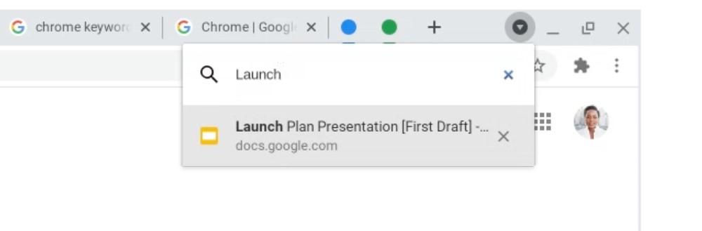 Ricerca tra le schede aperte in Google Chrome