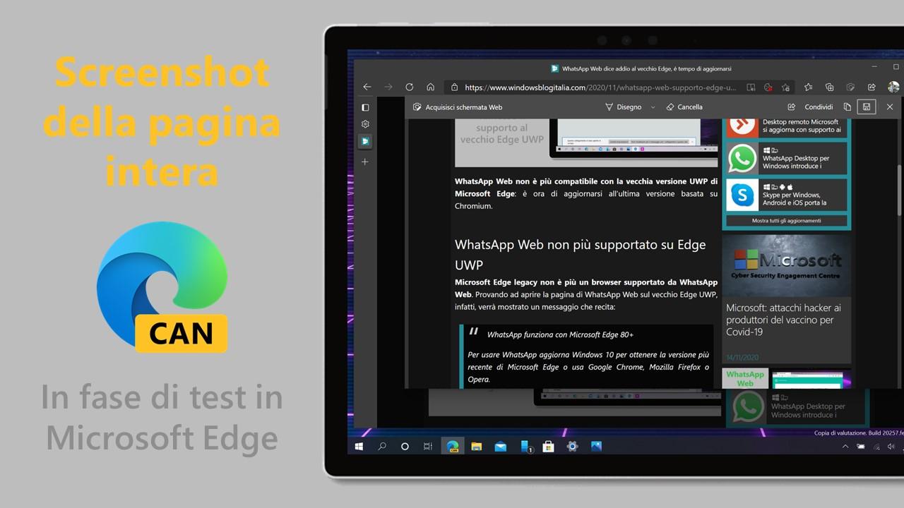 Screenshot della pagina web intera - In fase di test in Microsoft Edge Canary