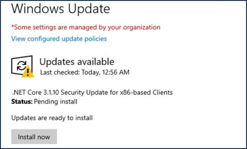Aggiornamenti di .NET Core tramite Microsoft Update in Windows 10