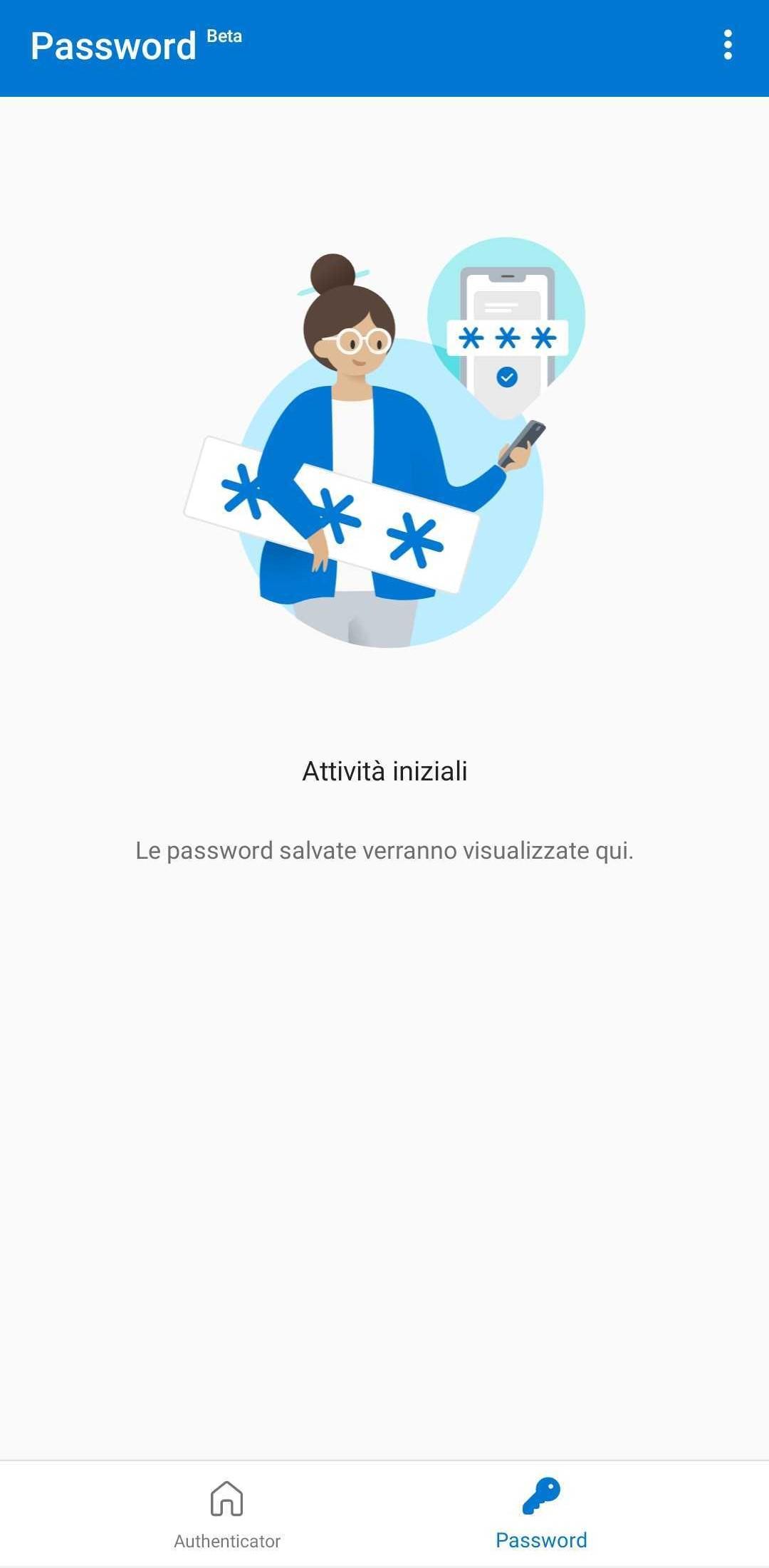 Microsoft Authenticator per Android - Sezione Password