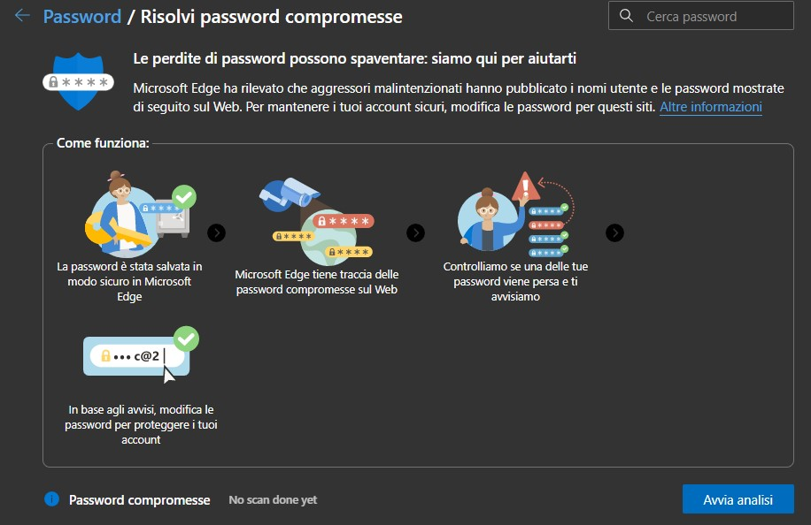 Microsoft Edge - Avvia analisi manuale per password compromesse
