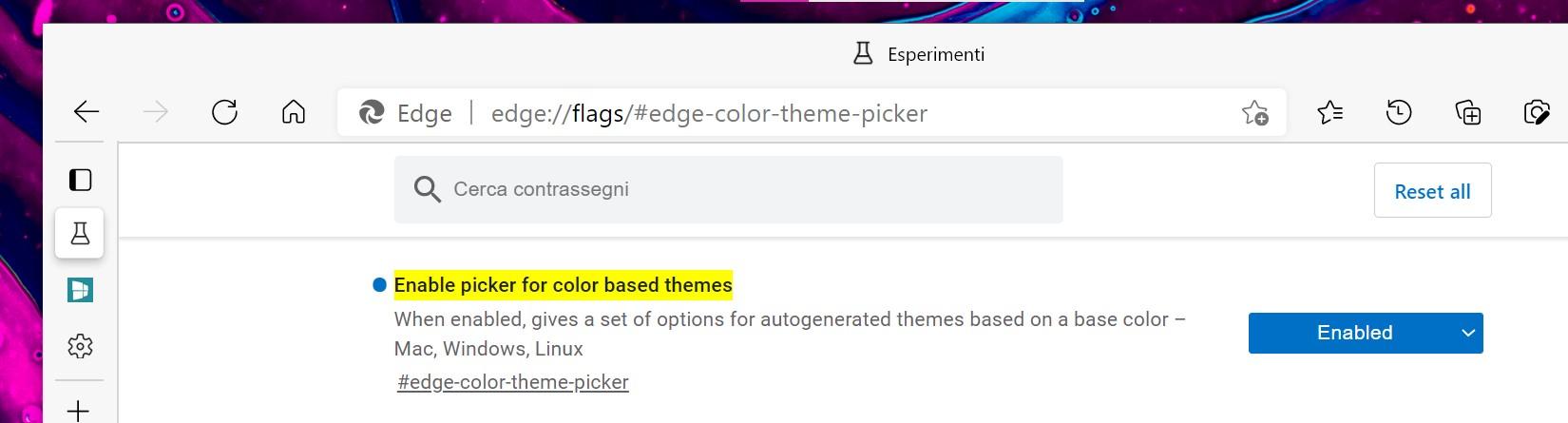Microsoft Edge - Flag per abilitare i temi colorati