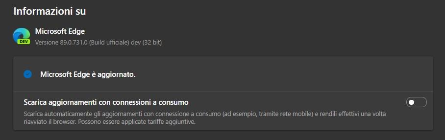 Microsoft Edge - Scarica aggiornamenti con connessioni a consumo