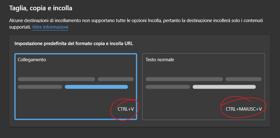 Microsoft Edge - Scorciatoie da tastiera per copia e incolla