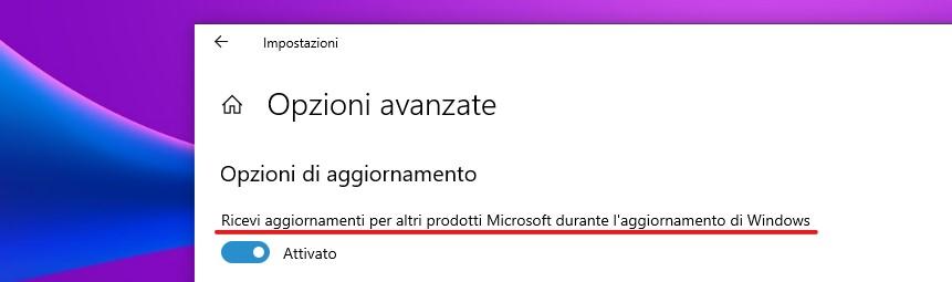 Microsoft Update - Ricevi aggiornamenti per altri prodotti Microsoft durante l'aggiornamento di Windows