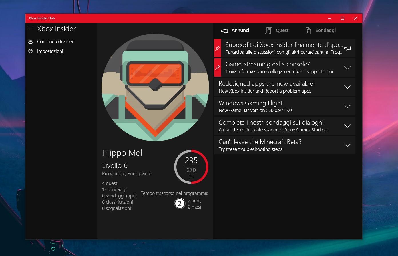 Nuova app Xbox Insider per Windows 10 e Xbox