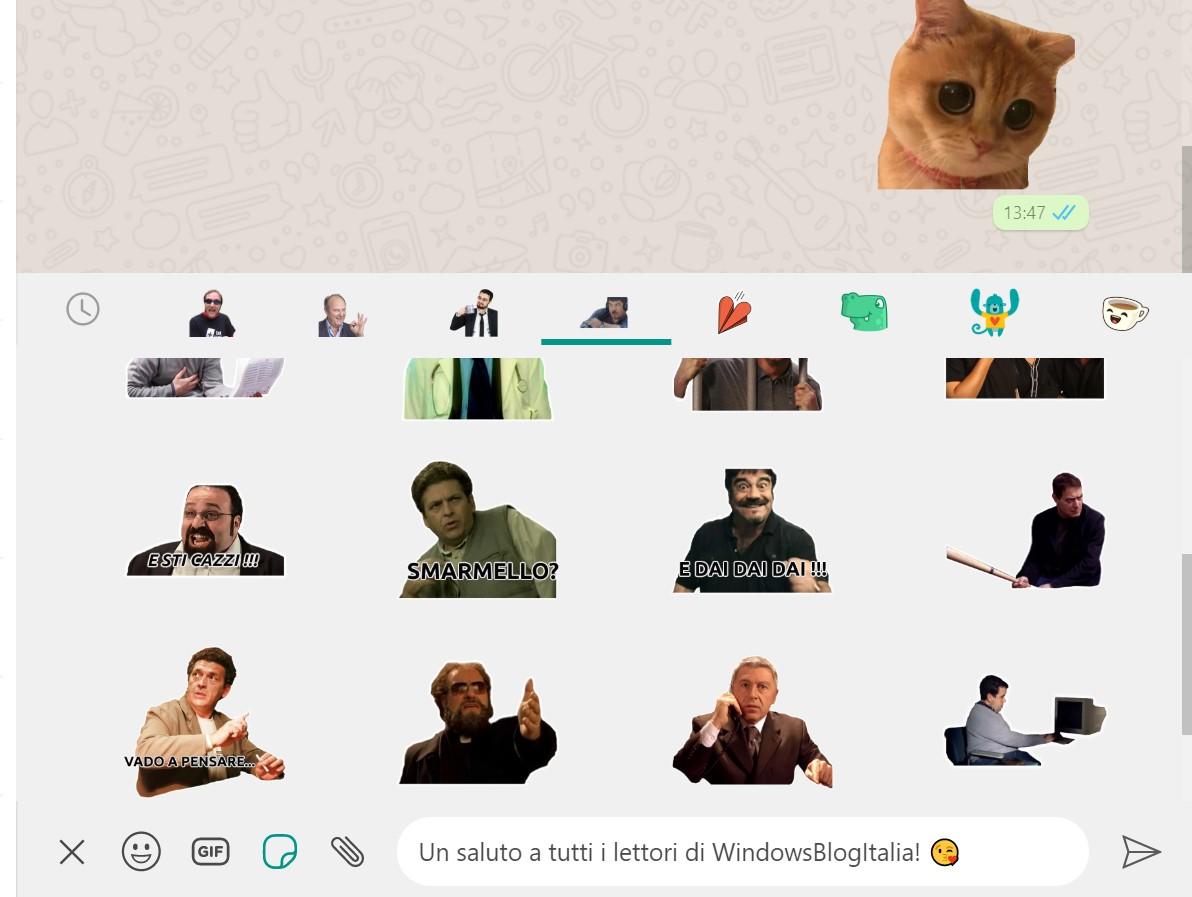 WhatsApp Desktop per Windows - Pacchetti di sticker di terze parti