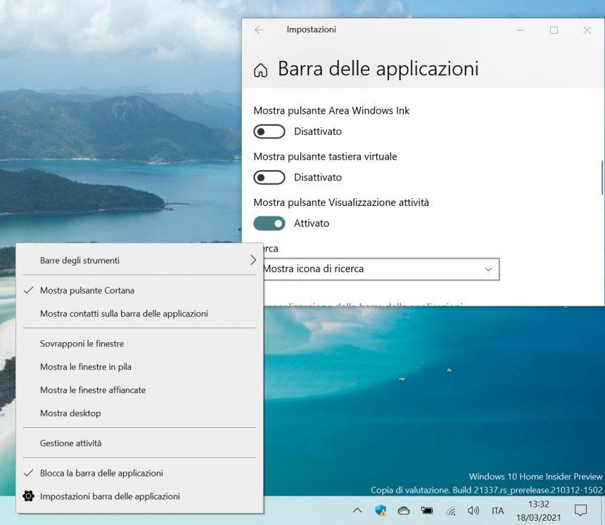 Windows 10 - Spostamento settaggi barra delle applicazioni nelle Impostazioni di sistema