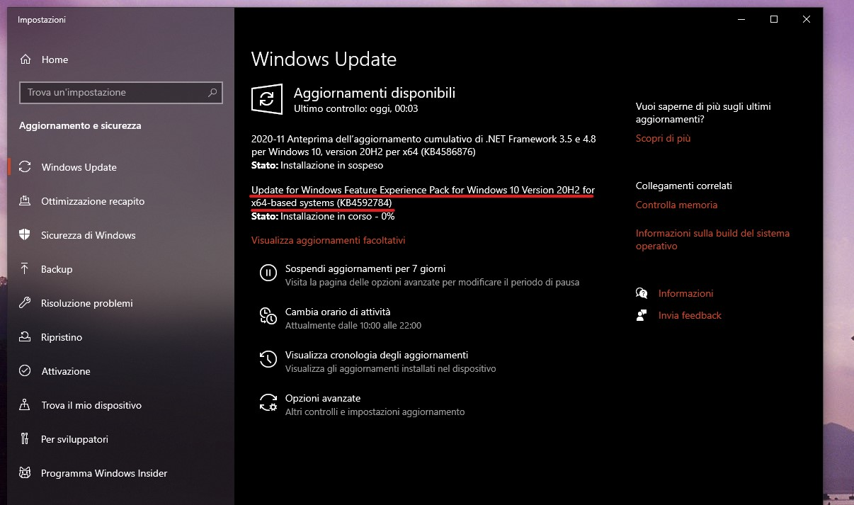 Windows Feature Experience Pack - Versione 120.2212.1070.0