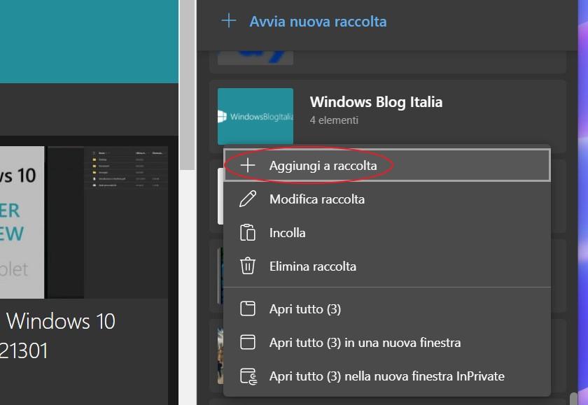 Microsoft Edge - Aggiungi pagina corrente alla raccolta dall'elenco delle Raccolte