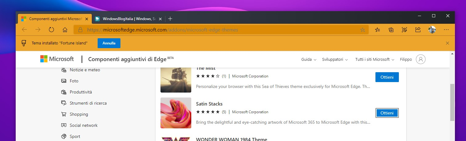 Microsoft Edge - Temi di Microsoft nello store dei componenti aggiuntivi di Edge