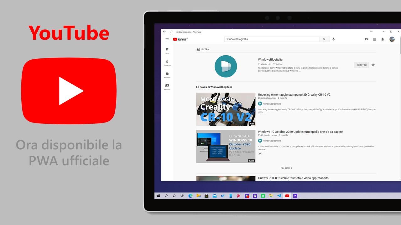 YouTube - Come installare la PWA ufficiale su Windows 10