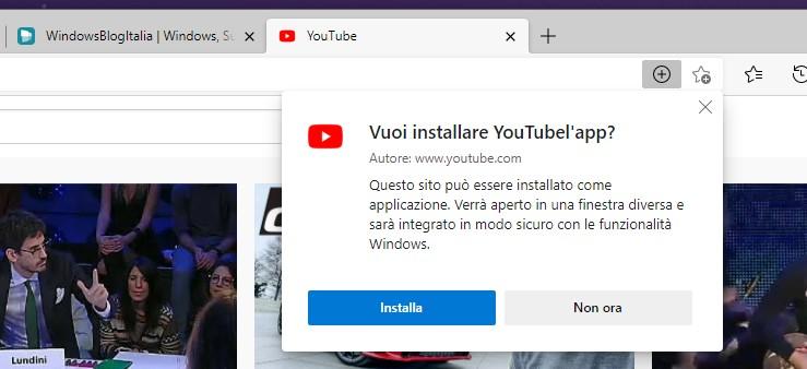 YouTube - Installazione come PWA