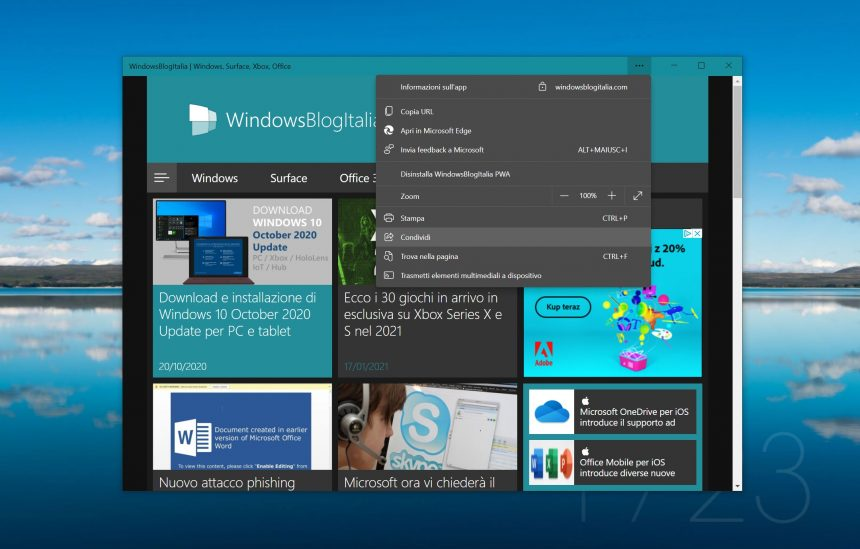 Microsoft Edge - PWA - Condivisione nativa di Windows 10
