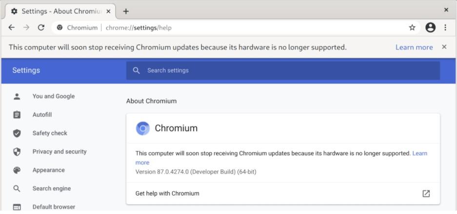 Browser Chromium stop supporto vecchie CPU
