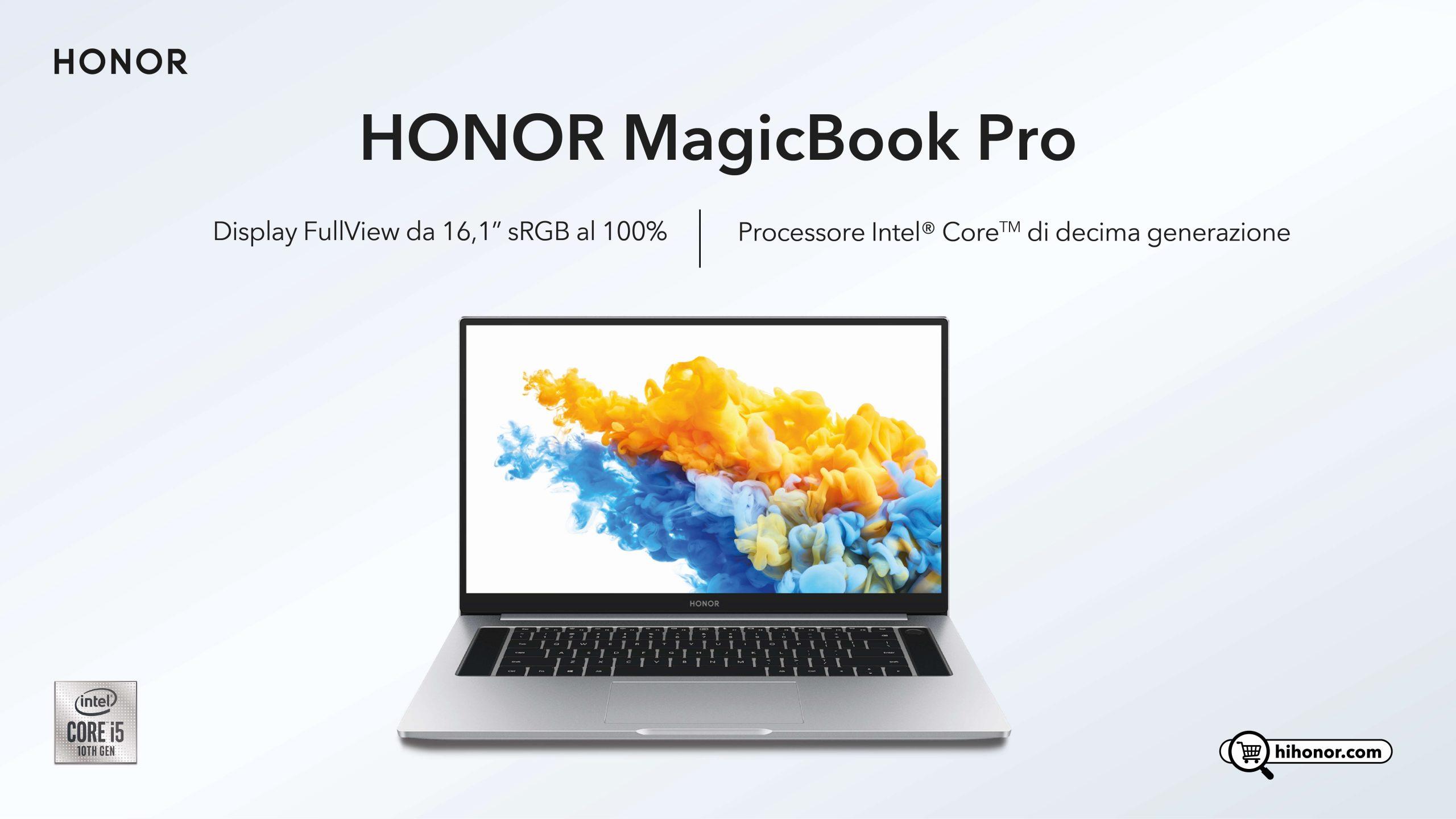 HONOR MagicBook Pro con processore Intel Core di decima generazione