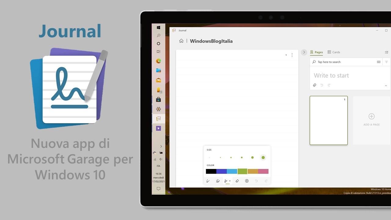 Journal - Nuova app per Windows 10 - Microsoft Garage