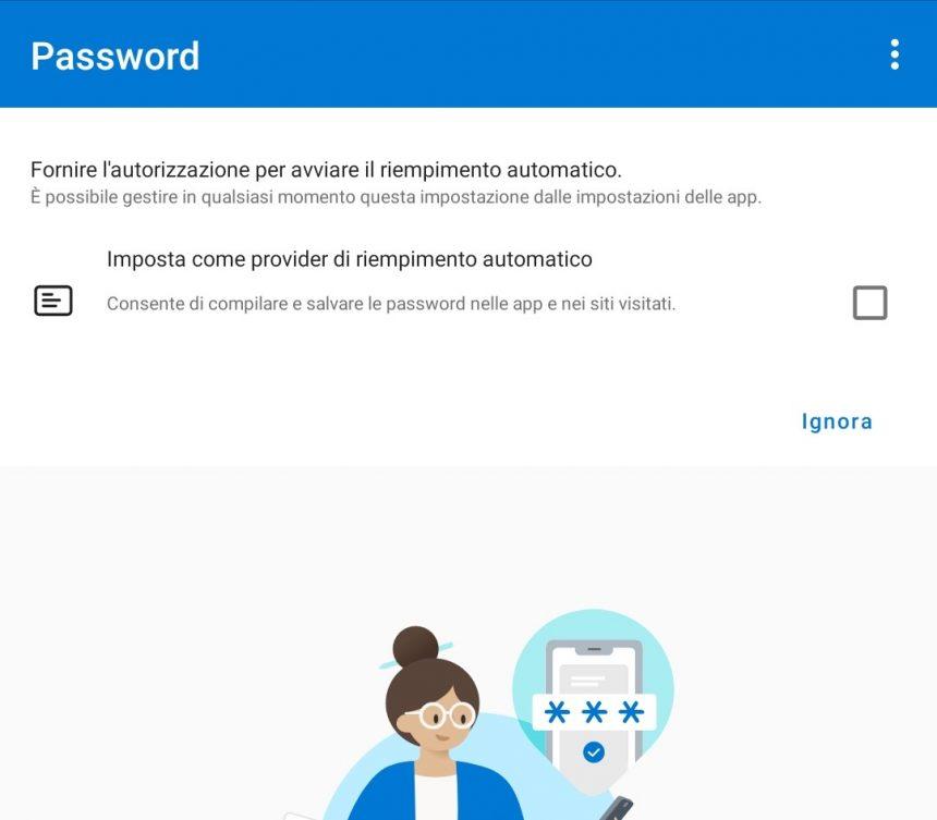Microsoft Authenticator - Impostazione come provider predefinito per l'autofill